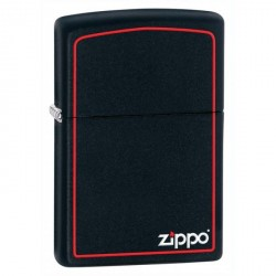 Zippo Logo and Red Border - Black Matte (noir mat)