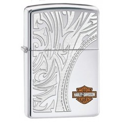 Zippo Harley Davidson Logo Shield Tree Pattern High Polish Chrome ( poli chromé)