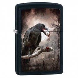 ZIPPO Black Raven with Eyeball - Black Matte (noir mat)