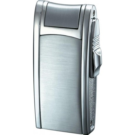 Briquet Cole Brushed and Polished Chrome Single Jet Flame Cigar / Cigarette Visol
