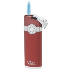 Briquet Lydia Metallic Red Jet Flame Visol