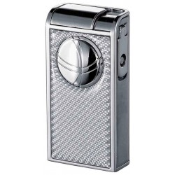 Briquet Infinity Double Jet White Carbon Fiber Chrome Visol