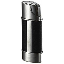 Briquet Piccolo Leather & Brushed Chrome Torch Flame Visol