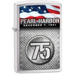 ZIPPO Pearl Harbor 75 - Brushed Chrome (chrome brossé)