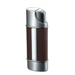 Briquet Piccolo Leather & Marron Torch Flame Visol